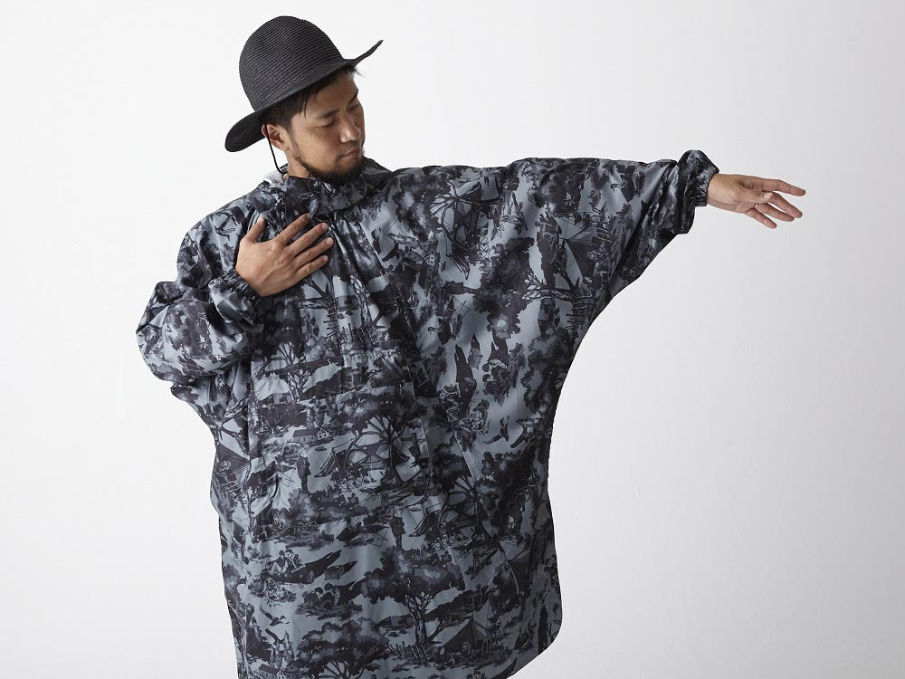 Printed Poncho:Camp Field 2 Olive3