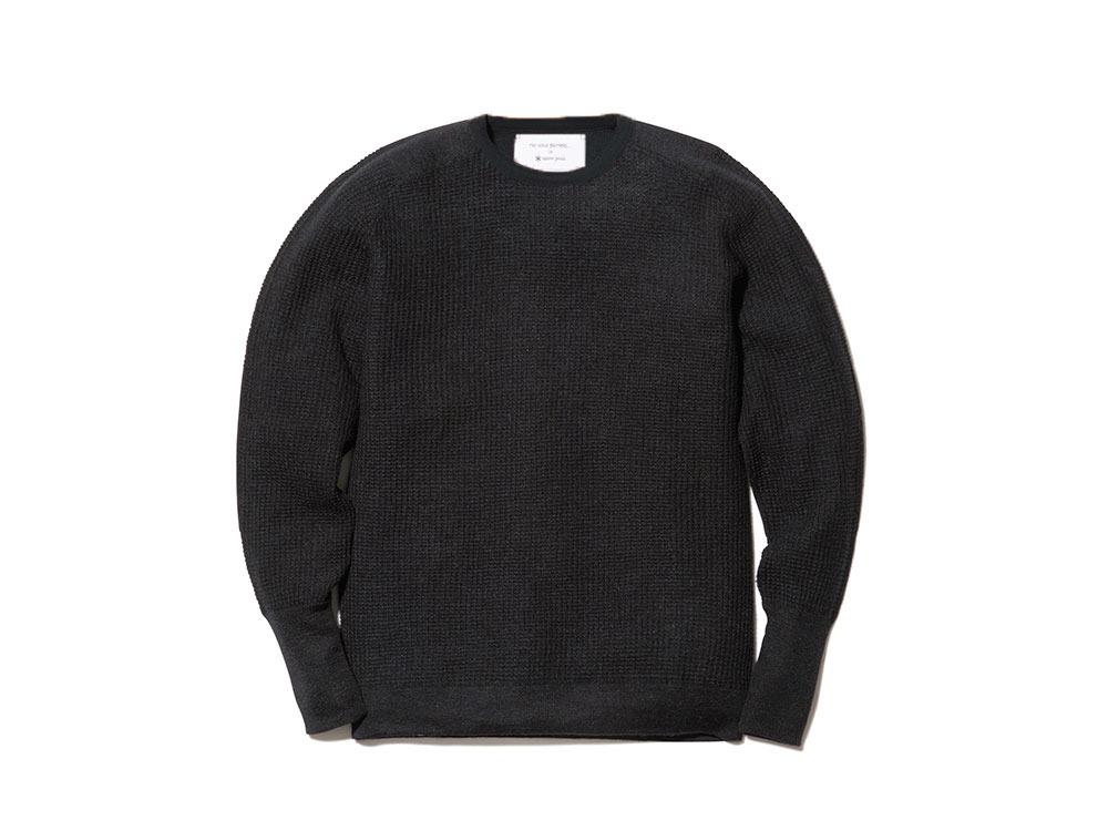 Waffle Crewneck Sweater XL Black