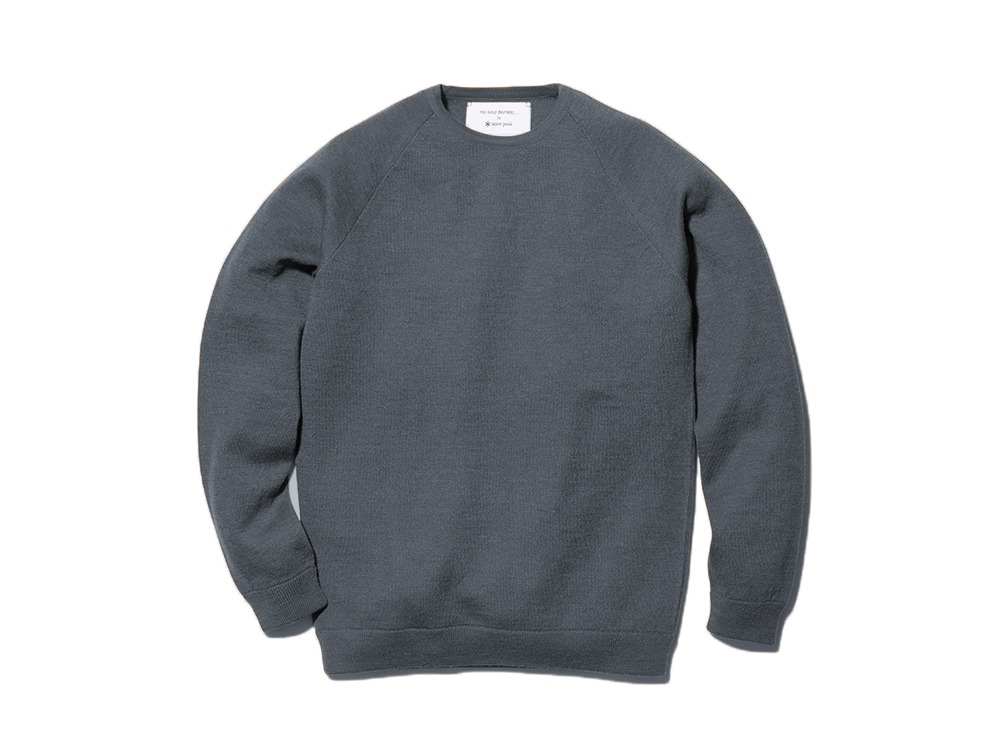 Raglan Crew Neck Knit Sweater L Grey