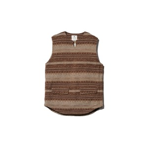Shetland Cotton JQ Tweed Vest M Brown