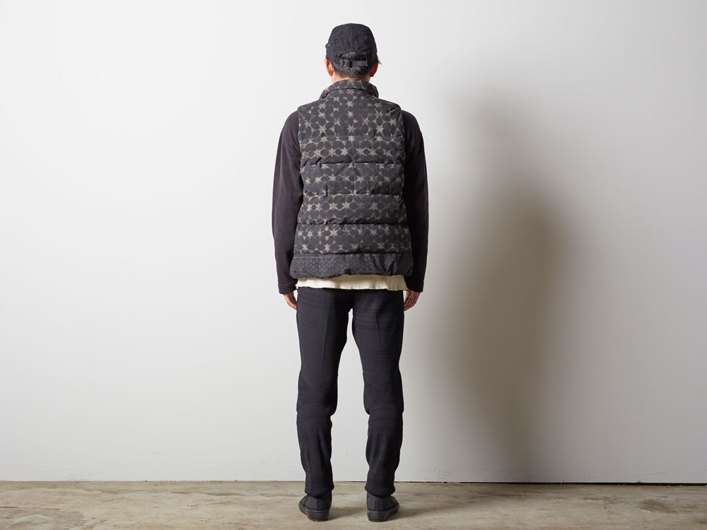 Indigo C/N Down Vest Print M Black3