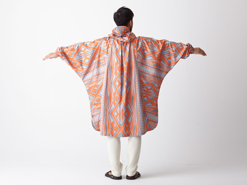 Printed Poncho:Solid Landscape 2 Orange3
