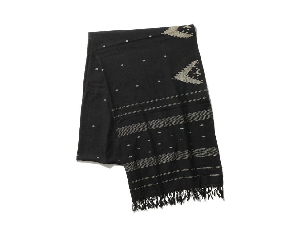 Cotton Silk Jamdani Stole 1 Black