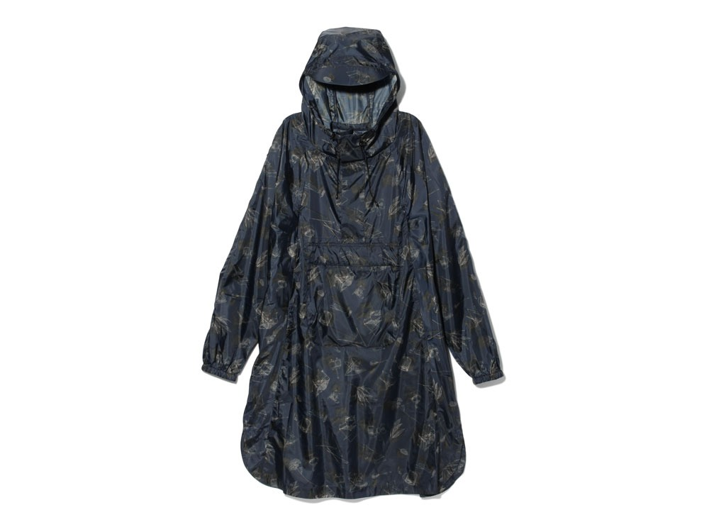 Printed Over Poncho 1 Navy0