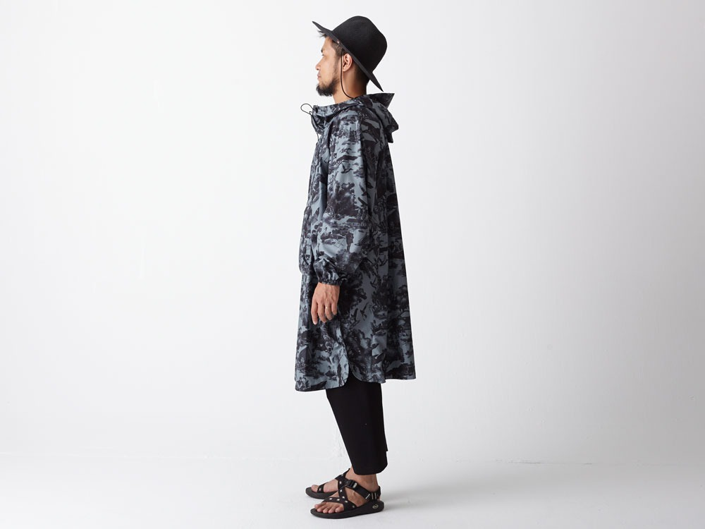 Printed Poncho:Camp Field 2 Olive1