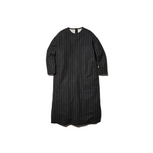 Striped Wool Dress 1 Charcoal×Beige
