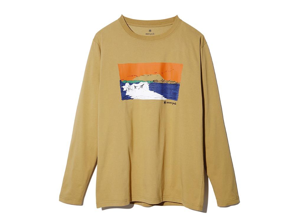 Printed L/S Tshirt Campfield M Mustard
