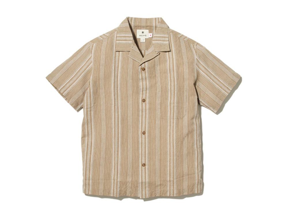 ワシ ストライプ オープンカラー シャツ 2 ブラウン