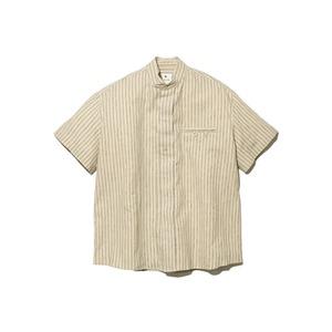 コットンリネン ストライプシャツ