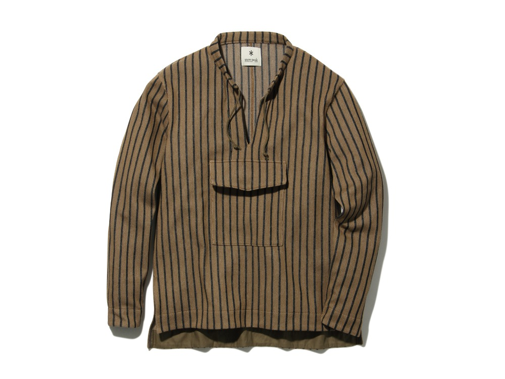 CottonLinenStripedAnorak M Brown×Black0