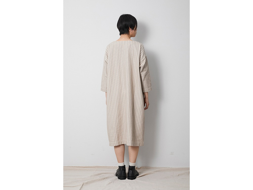 Cotton Herringbone Stripe Dress 3 Beige