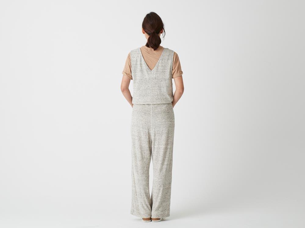 W's Linen Pile Overalls 1 Ecru4