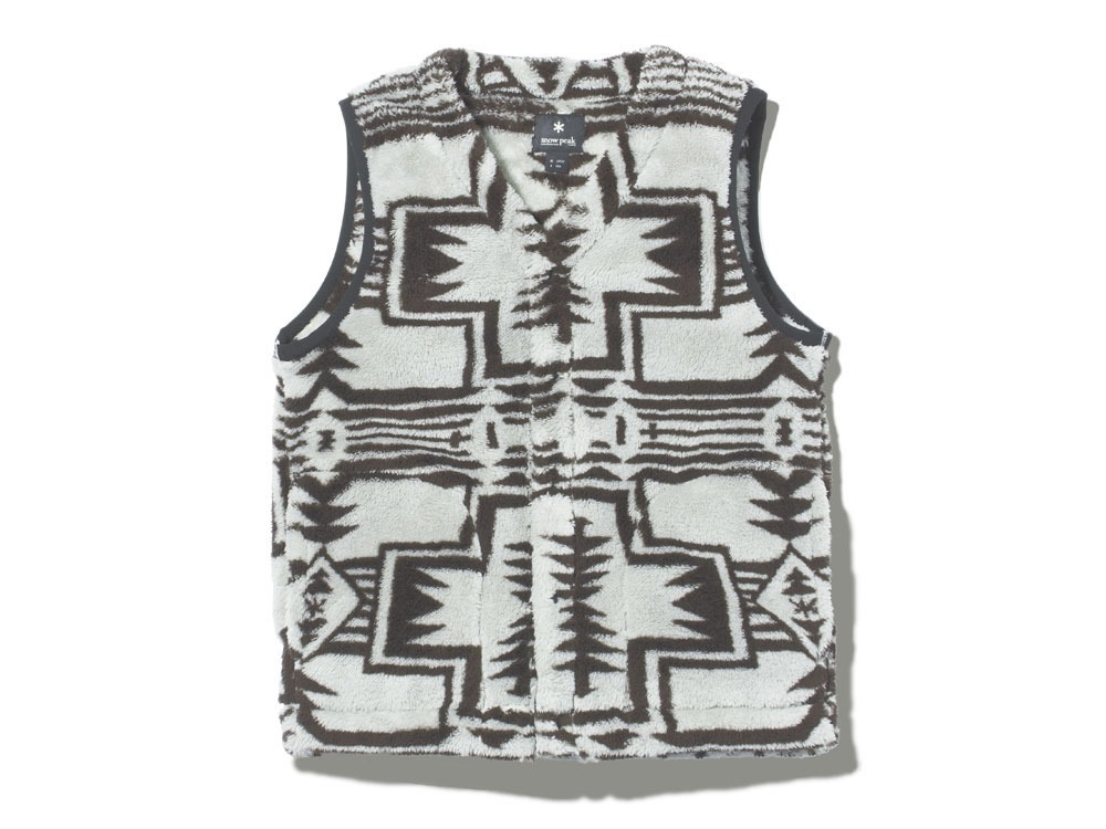 Printed Fleece Vest S Grey×Black0