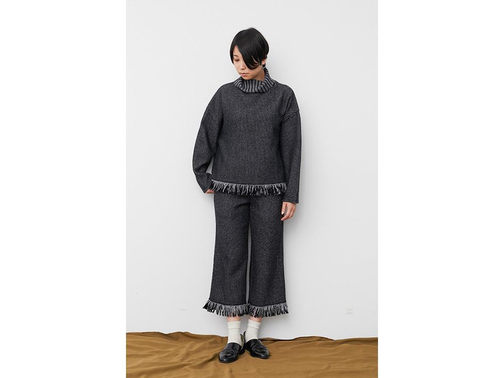 Fringe Knit Pullover 2 Grey