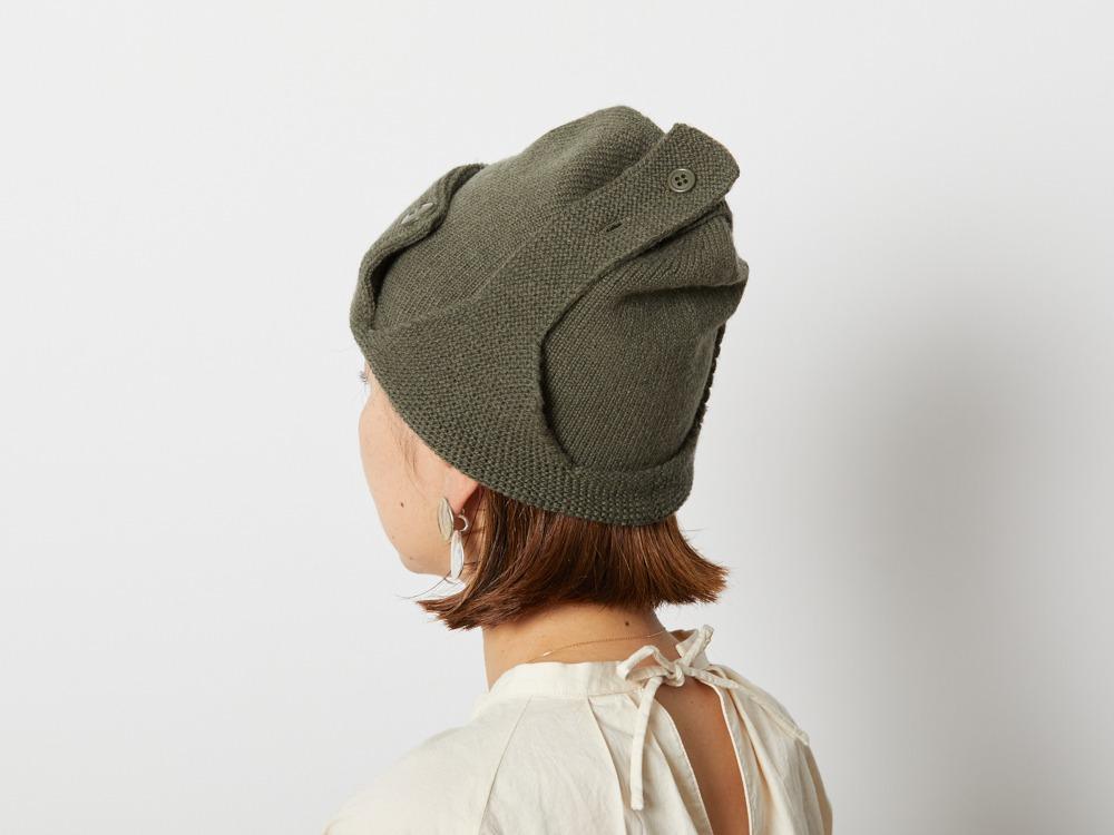 Wool Knitted Flight Cap One Oatmeal