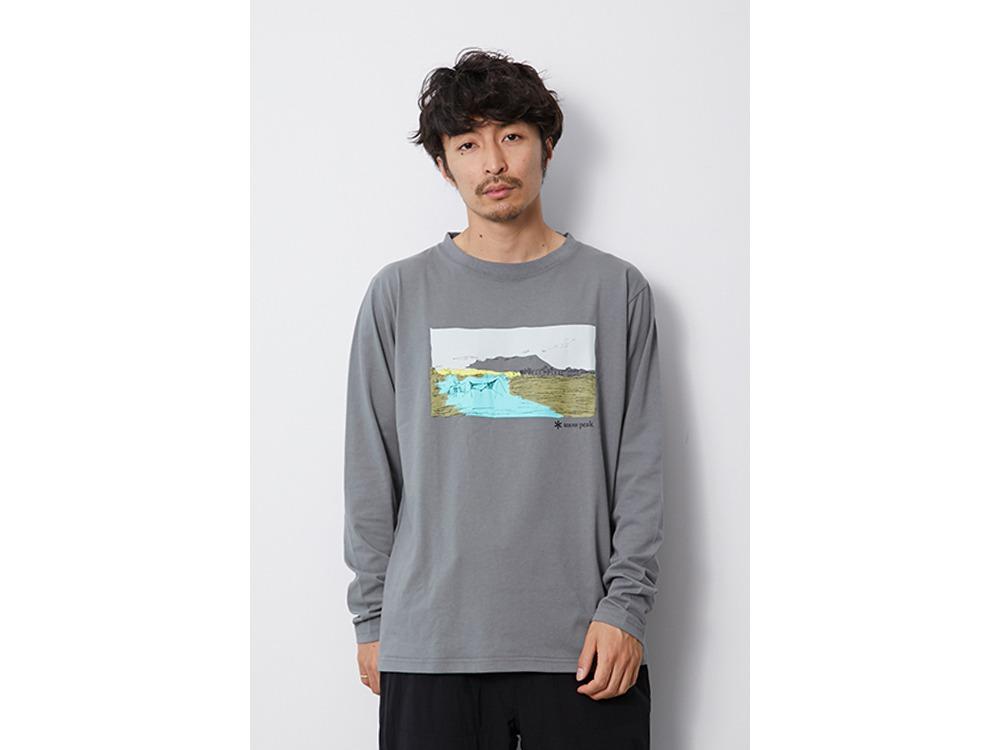 Printed L/S Tshirt Campfield M White