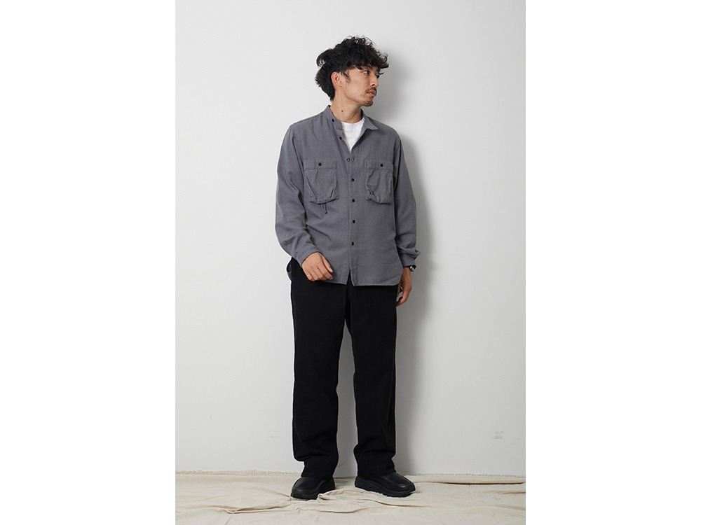 Cotton Silk Serge Shirt S Grey