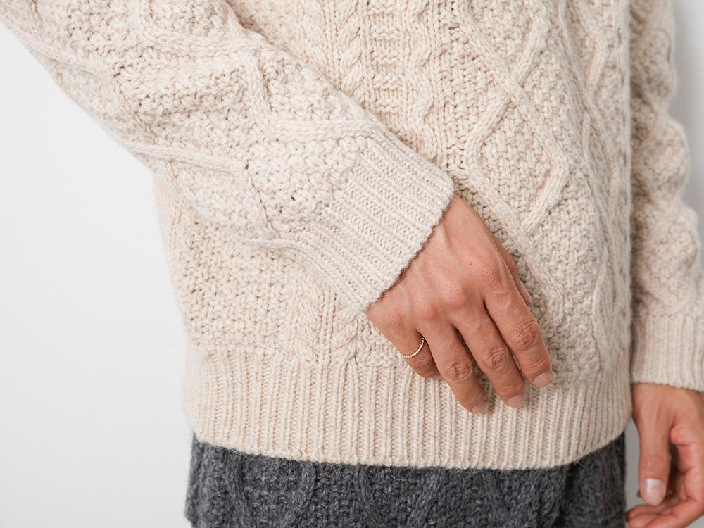 Alpaca Knit Turtleneck Pullover 1 Ecru