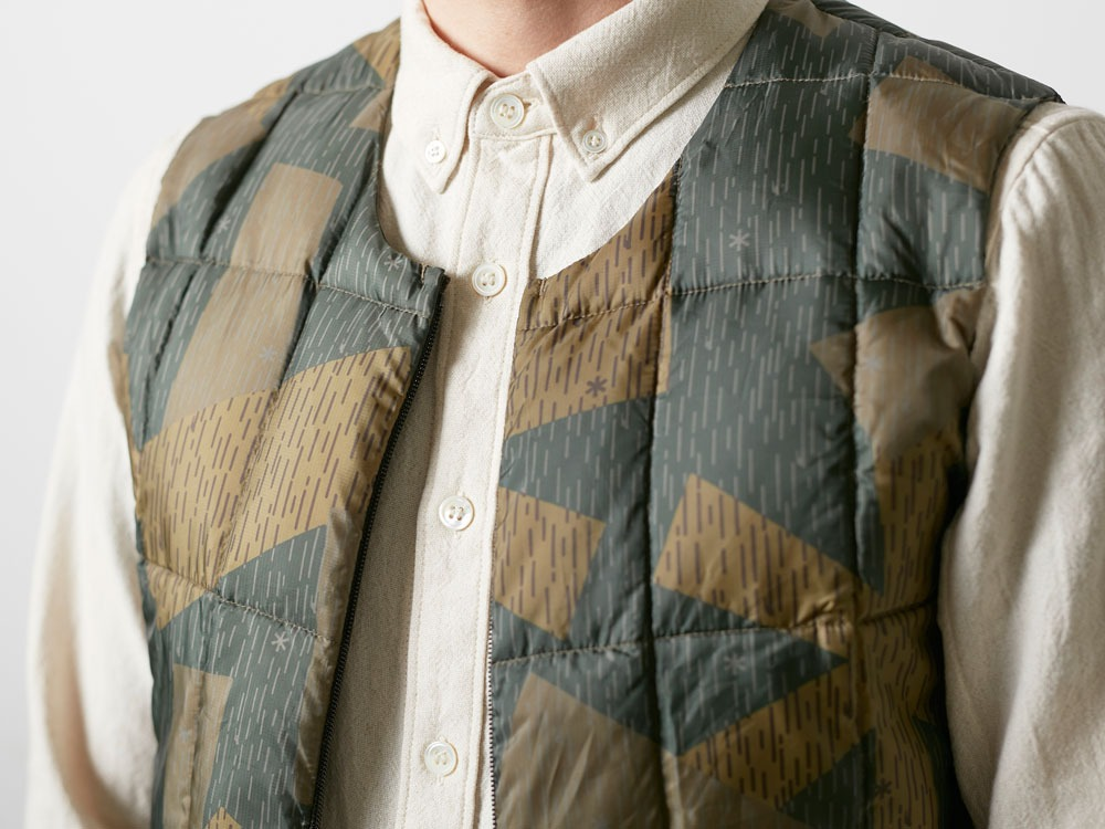 Printed Inner Down Vest 1 Olive9