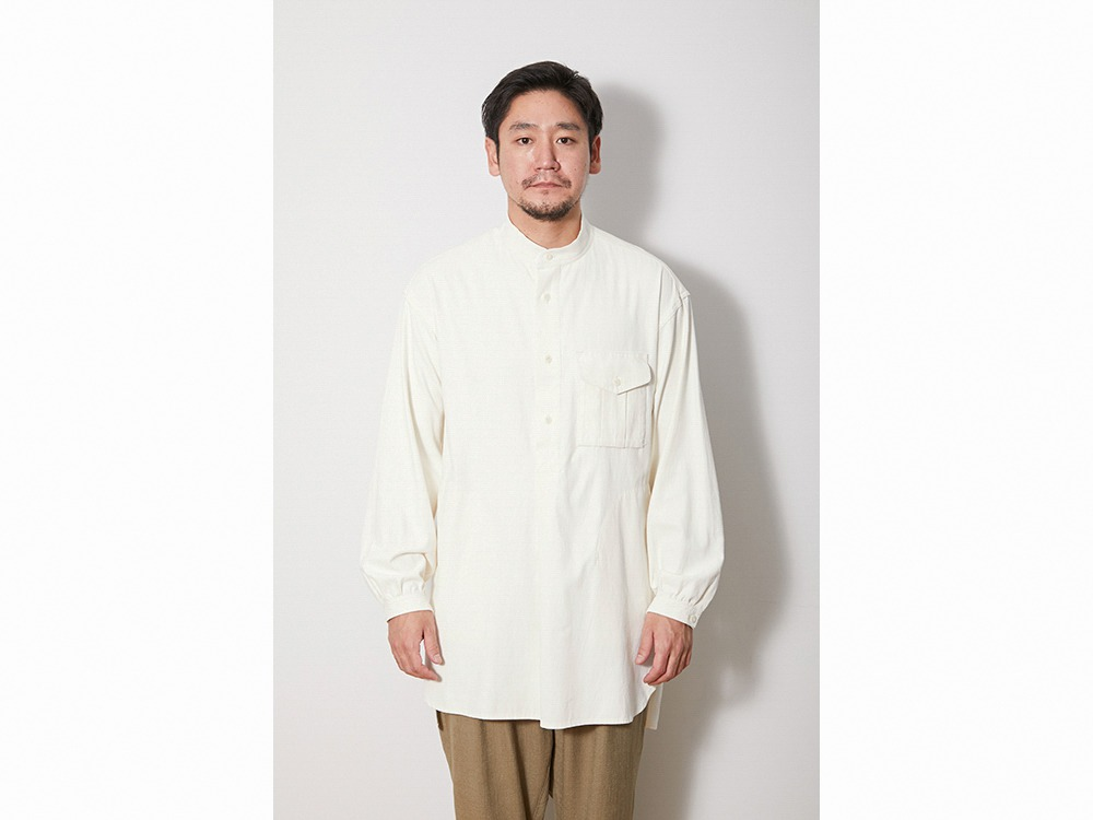 TAKIBI Long Shirt L EcruNavy