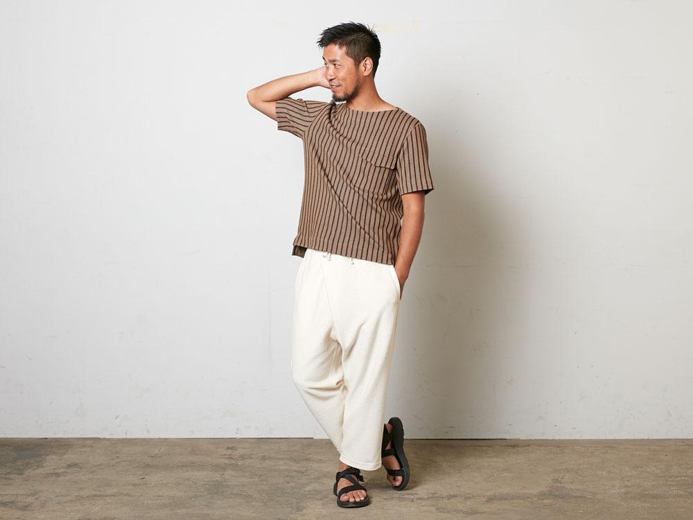 CottonLinenStripedTshirt S Black×Ecru1