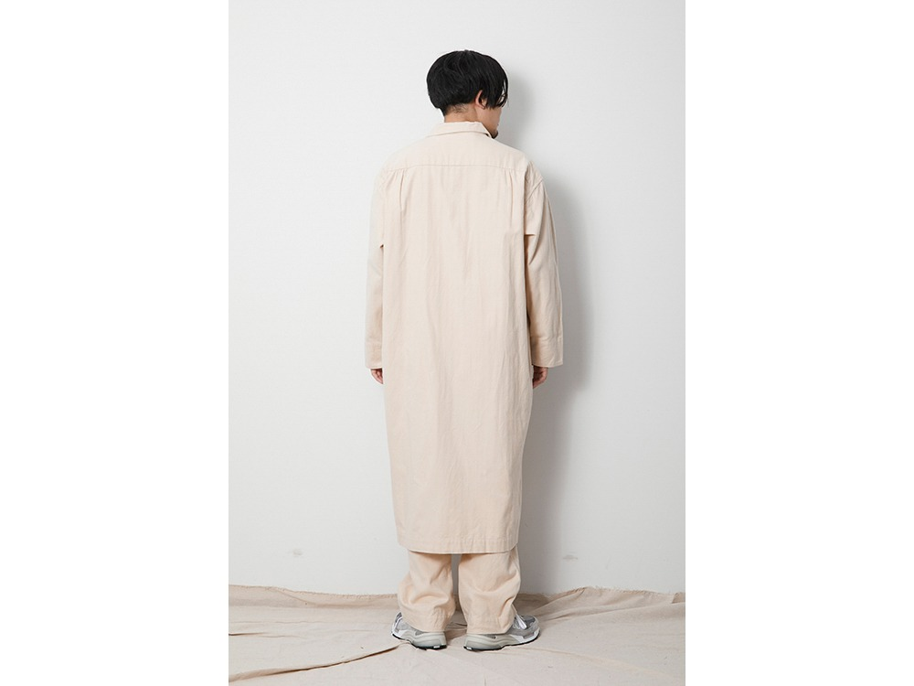 Organic Cotton Suede Long Shirt M Ecru