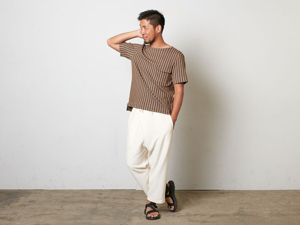 CottonLinenStripedTshirt XL Brown×Black1
