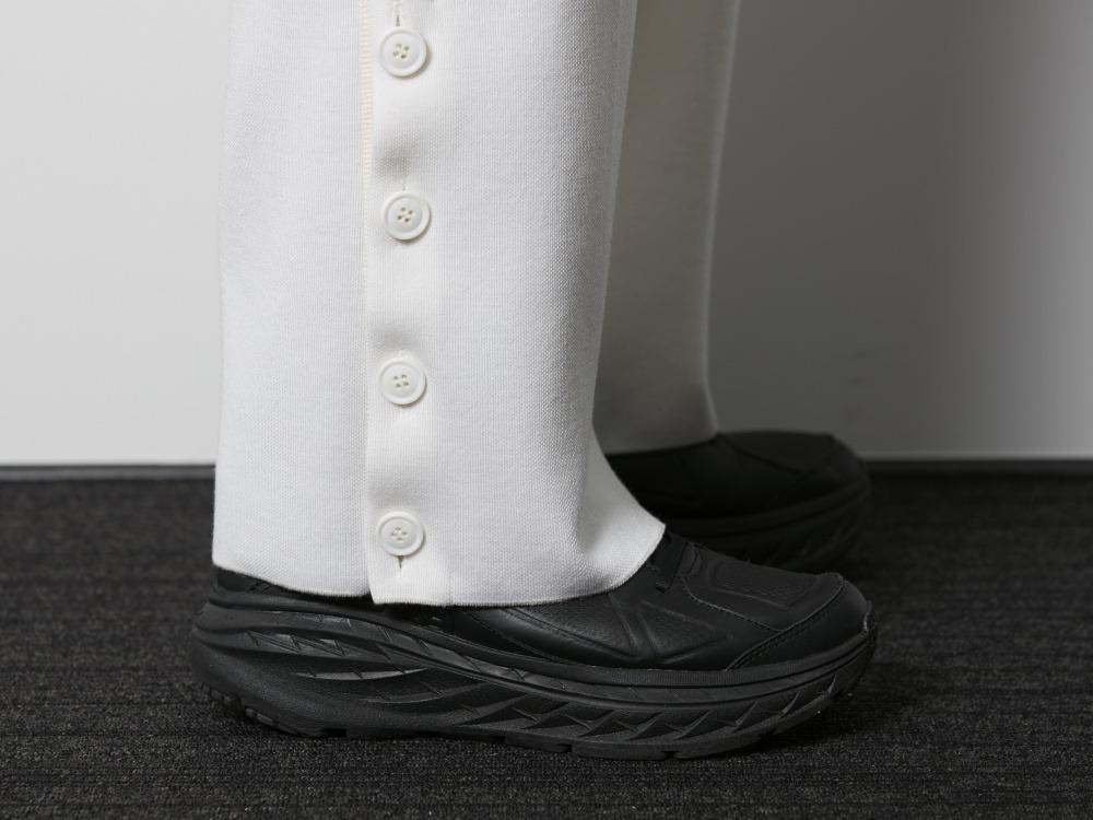 ウールポリエステルワイドパンツ M ブラック