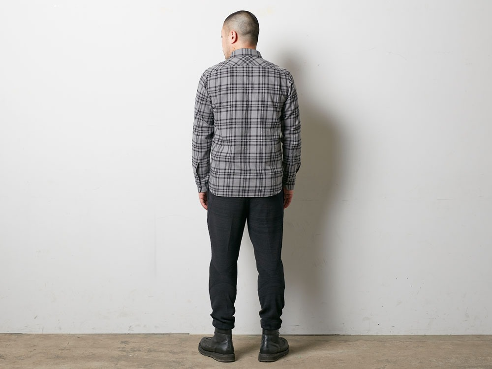 Check Flannel Shirt S Grey3