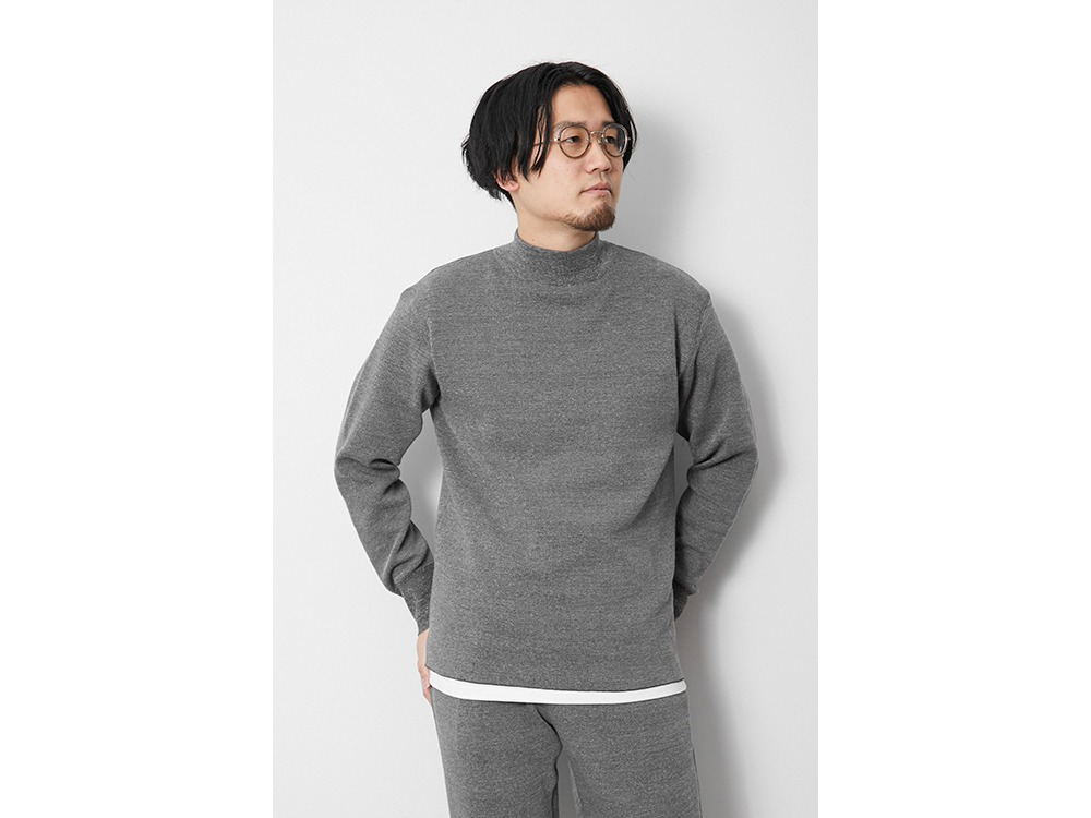 Li/W/Pe Mockneck Long Sleeve L Grey