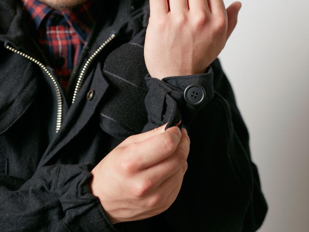 ウールミリタリーライニングコート L Black9