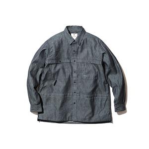 TAKIBI Light Denim Utility Shirt M Indigo
