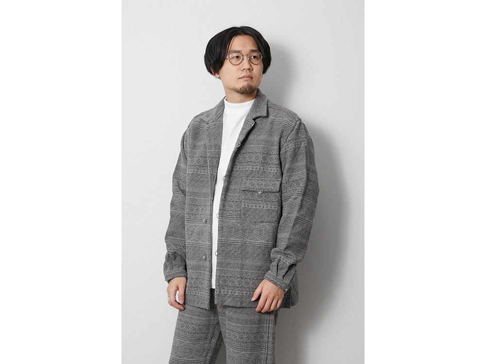 Cotton Silk Jacquard Jacket M Grey