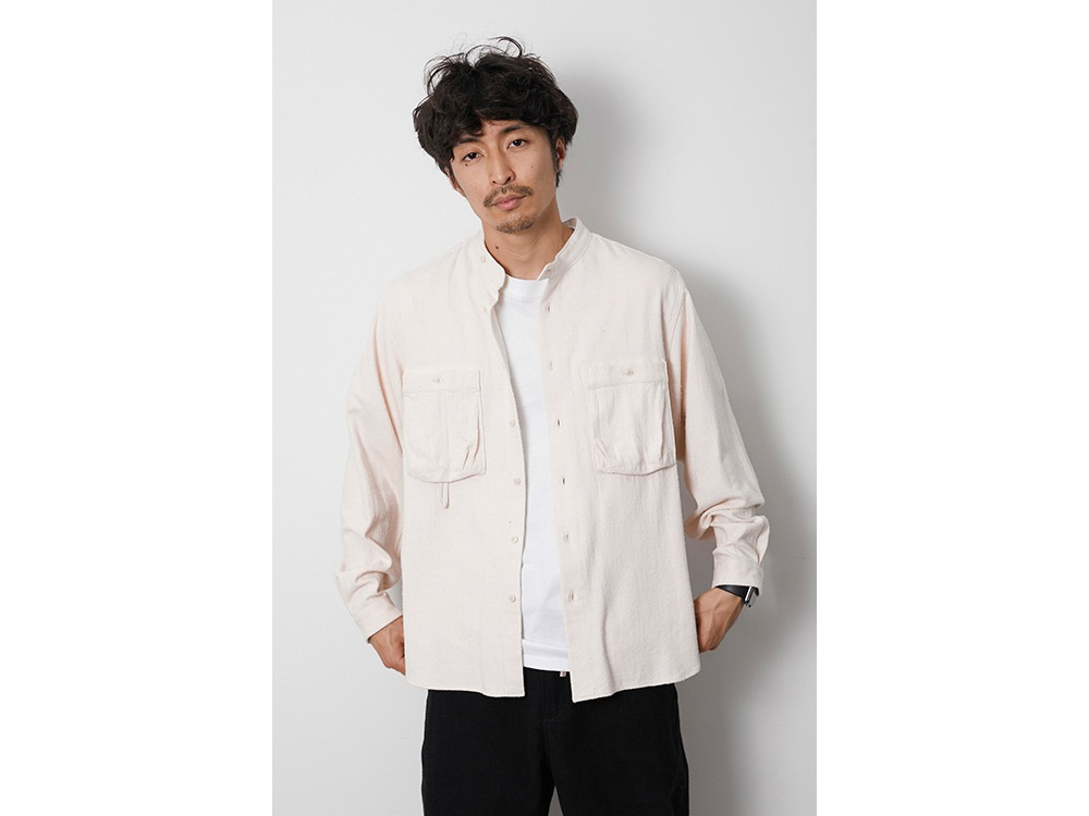 Cotton Silk Serge Shirt L Grey