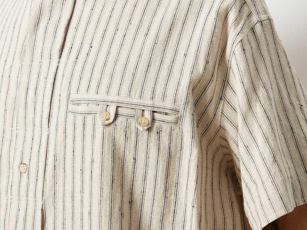 コットンリネン ストライプシャツ M ネイビー