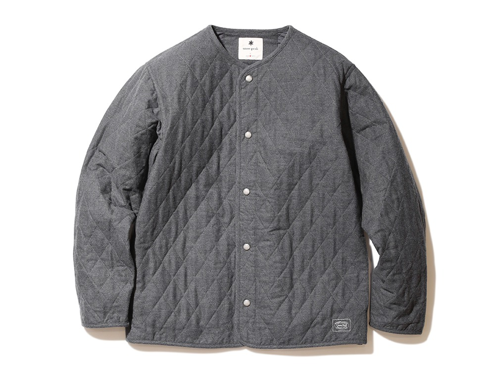 Quilted Flannel Cardigan L Charcoal