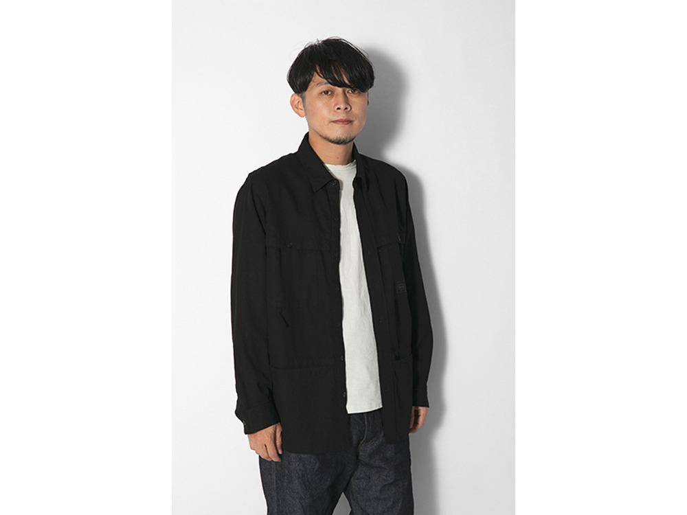 TAKIBI Light Denim Utility Shirt M Ecru