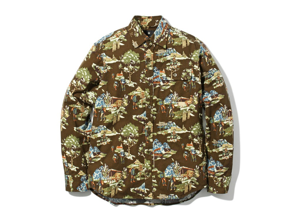 Mountain Printed Shirt L Brown0