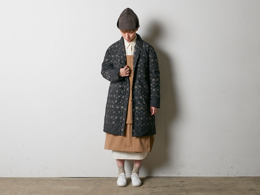 Indigo C/N Down L Coat Print L Black1