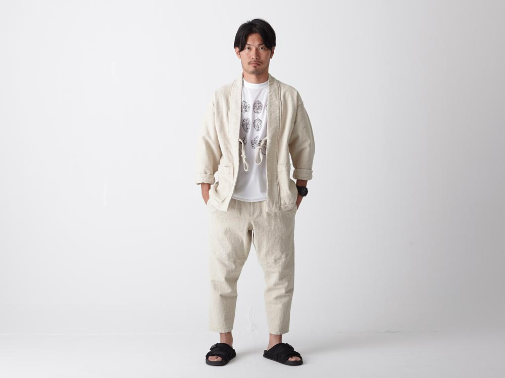 Linen HAORI Jacket S Ecru1