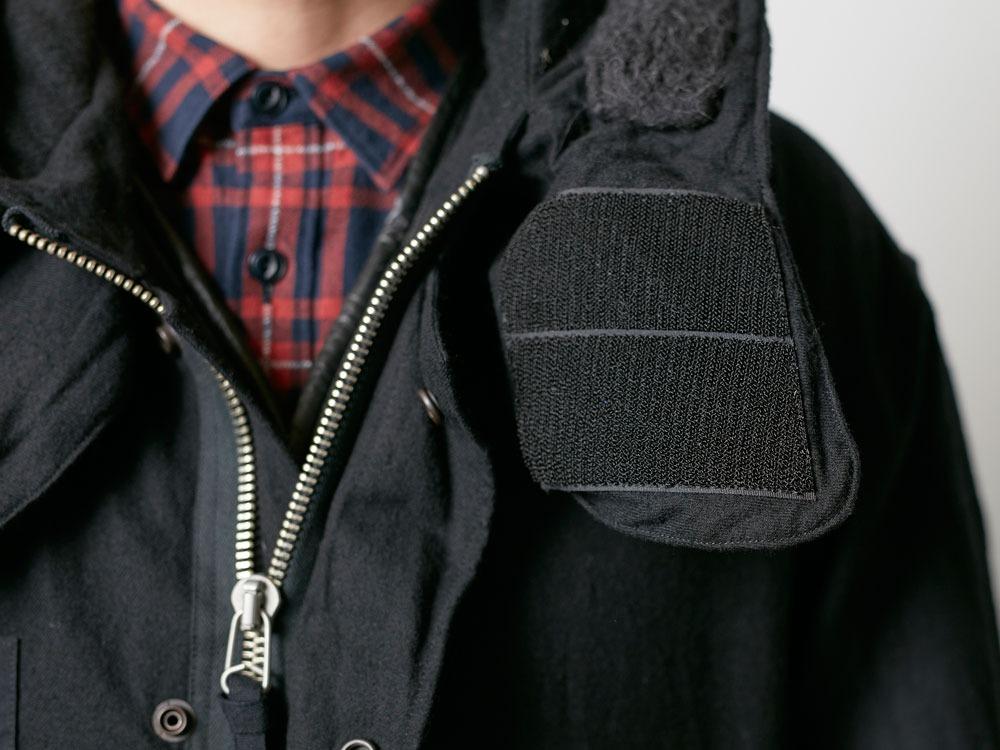 ウールミリタリーライニングコート L Black6