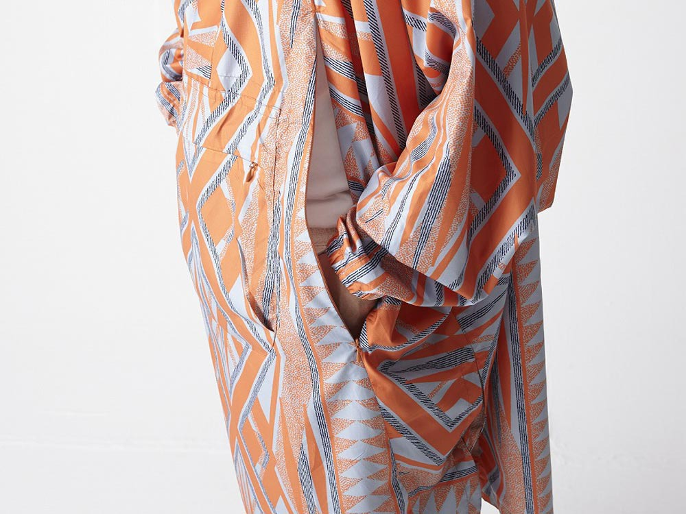 Printed Poncho:Solid Landscape 2 Orange7