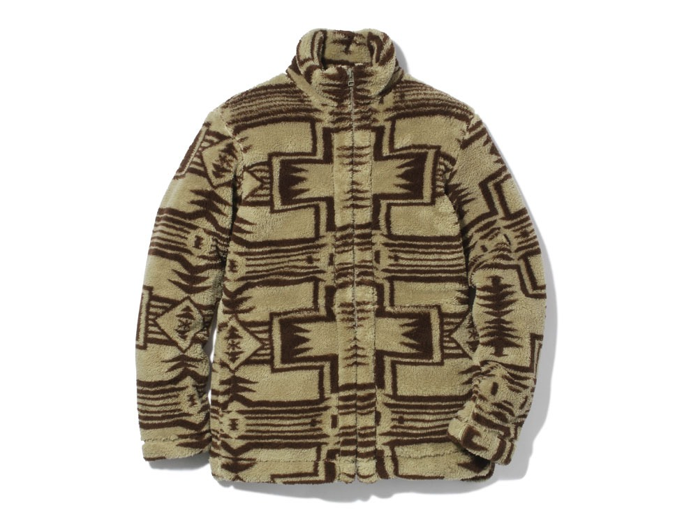 Printed Fleece Jacket S Beige×Brown0