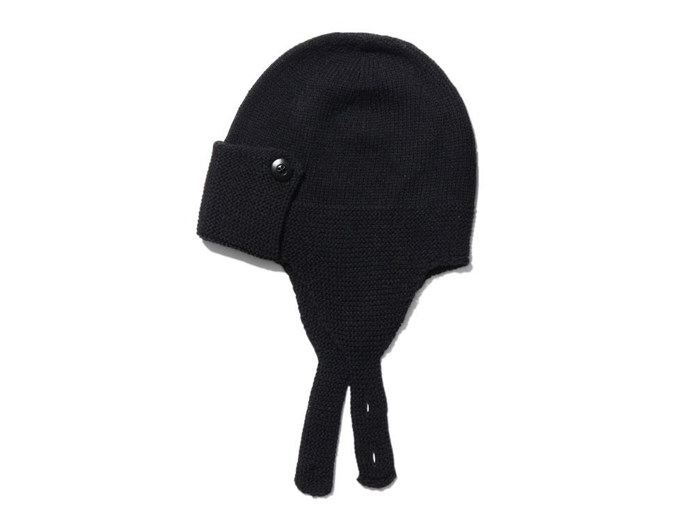 Wool Knit Flight Cap oneBlack