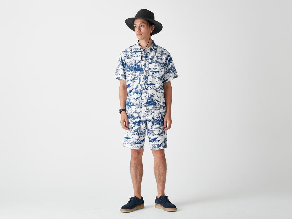 Camp Aloha Shirt M Olive1