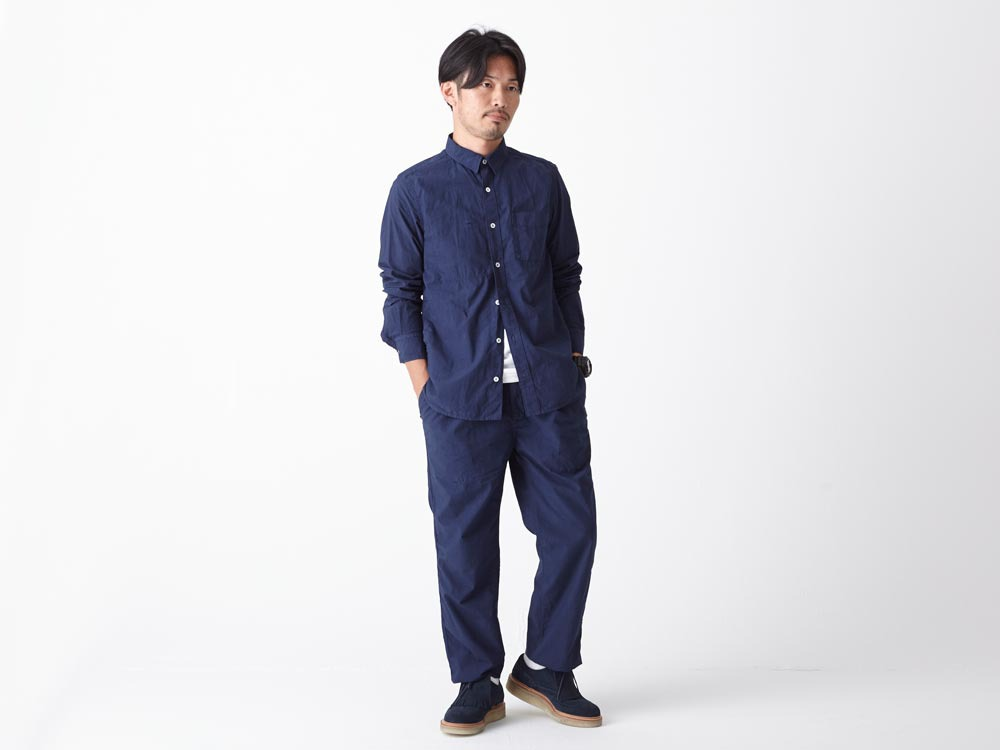 Organic Typewriter Shirt S Navy1