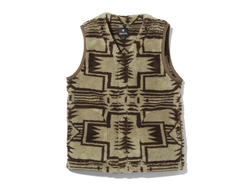 Printed Fleece Vest XL Beige×Brown0