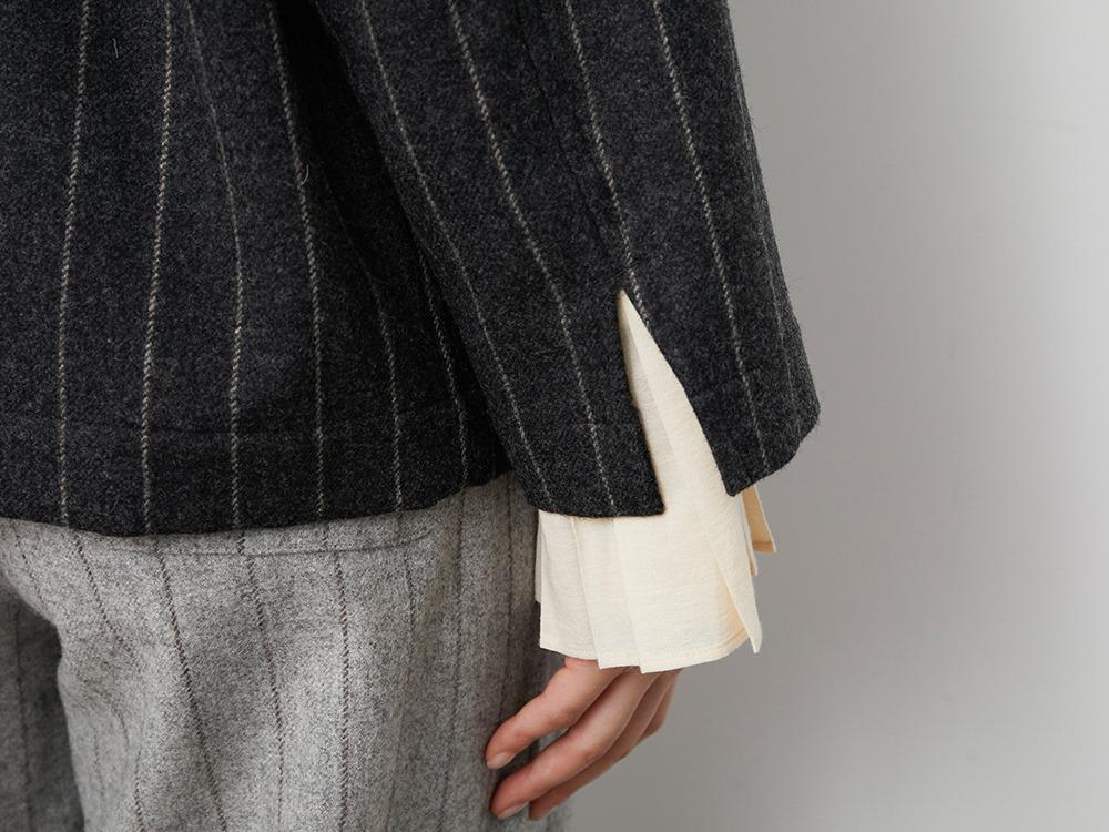 Striped Wool Jacket 1 Lightgrey×Brown