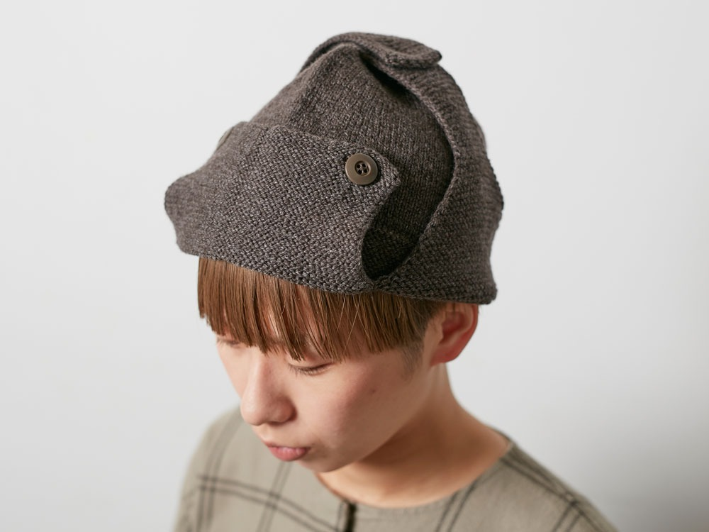 Wool Knit Flight Cap Grey1