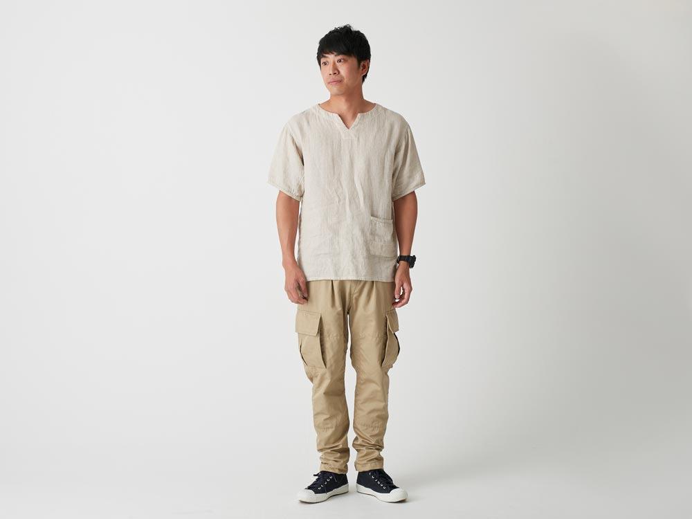Linen Waffle Tshirt S Navy1